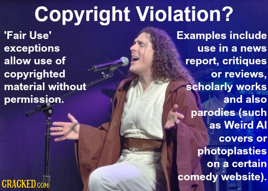 Copyright Violation? 'Fair Use' Examples include exceptions use in a news allow use of report, critiques copyrighted or reviews, material without scho