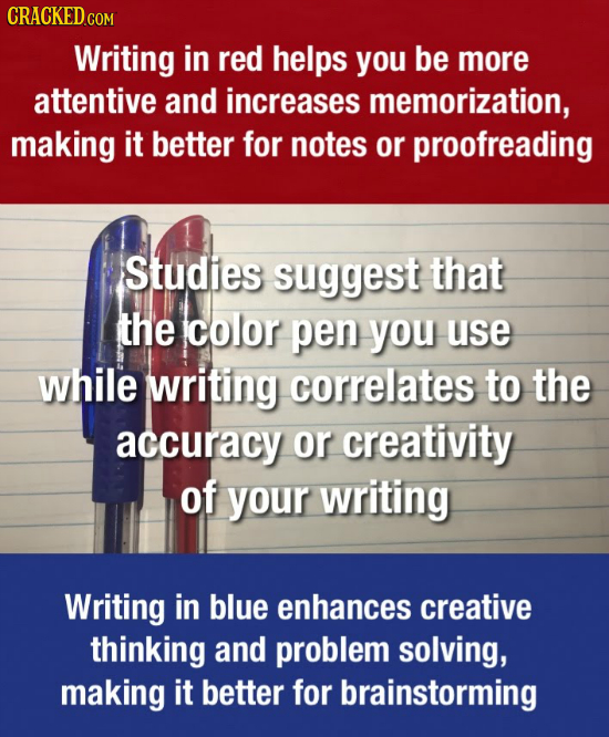 CRACKEDcO Writing in red helps you be more attentive and increases memorization, making it better for notes or proofreading Studies suggest that the c