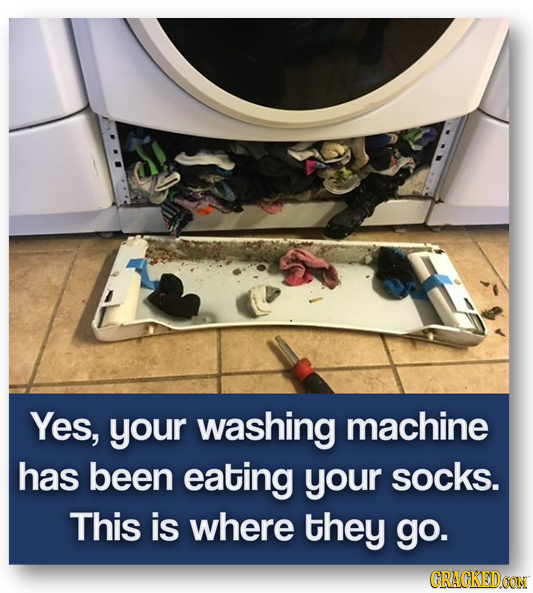 Yes, your washing machine has been eating your socks. This is where they go. CRACKEIDOON