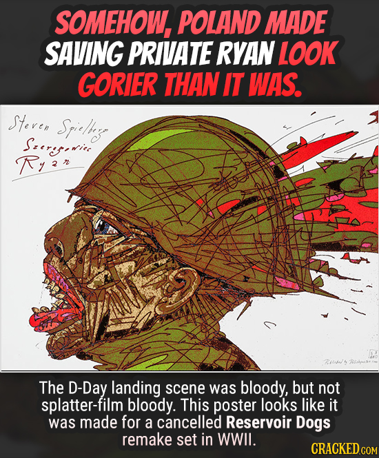 SOMEHOW, POLAND MADE SAVING PRIVATE RYAN LOOK GORIER THAN IT WAS. Steren Srieliag Seretice Ryr The D-Day landing scene was bloody, but not splatter-fi