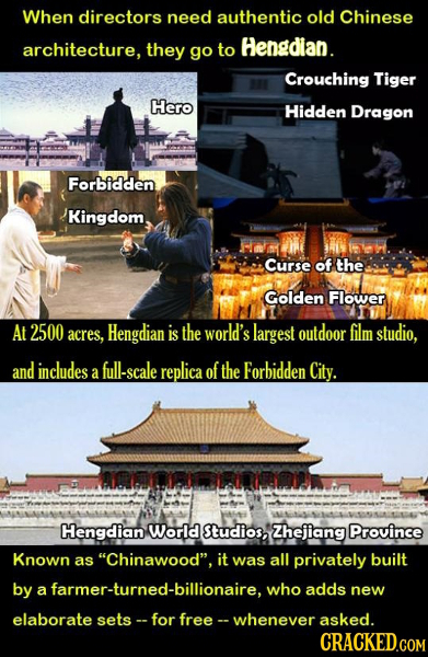 When directors need authentic old Chinese architecture, they Hengdian. go to Crouching Tiger Hero Hidden Dragon Forbidden Kingdom Curse of the Golden