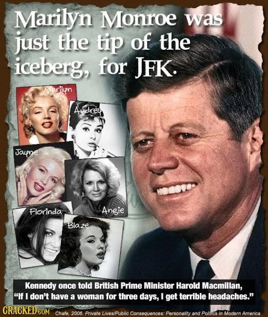 Marilyn Monroe was just the tip of the iceberg, for JFK. Marilun Adrey Jaupne Florinda Angie Blaze Kennedy once told British Prime Minister Harold Mac