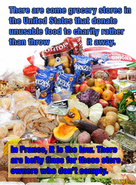 There are some grocery stores in the United States that donate unusable food to charity rather than throw it away HTATOB EXPORA ONIONS theezels PROSLO