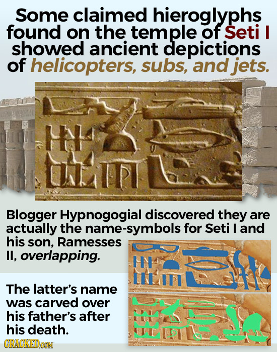 Some claimed hieroglyphs found on the temple of Seti I showed ancient depictions of helicopters, subs, and jets. HH Blogger Hypnogogial discovered the