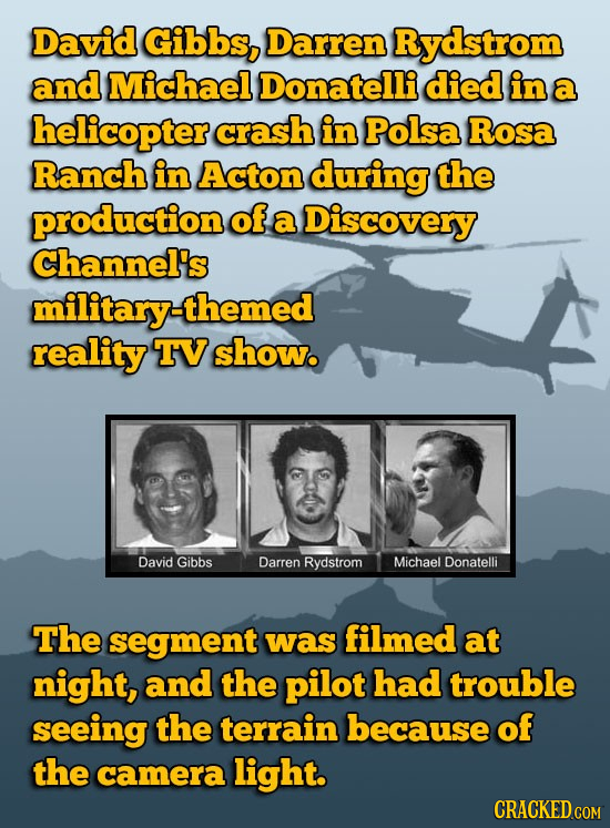 David Gibbs, Darren Rydstrom and Michael Donatelli died in a helicopter crash in Polsa Rosa Ranch in Acton during the production of a Discovery Channe
