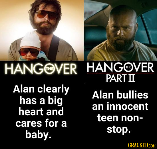 HANGOVER HANGHVER THE THE PART II Alan clearly Alan bullies has a big an innocent heart and teen non- cares for a baby. stop.