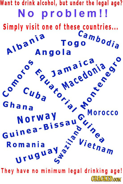 Want to drink alcohol, but under the legal age? No problem!! Simply visit one of these countries... Cambodia Togo Albania Angola atorialGu: 1amaica Cu