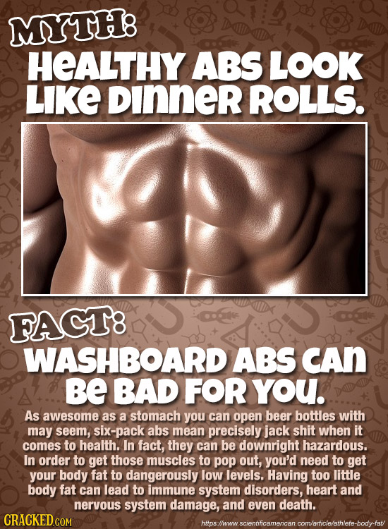 MYTH: HEALTHY ABS LOOK LIKE DInnER ROLLS. FAGT8 WASHBOARD ABS CAn Be BAD FOR YoU. As awesome as a stomach you can open beer bottles with may seem, six
