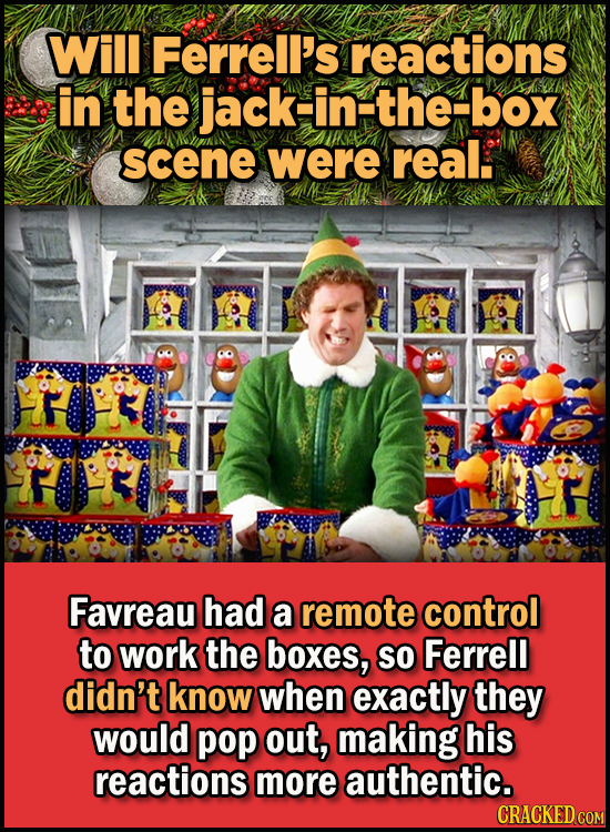23 Son Of A Nutcracker Facts About The Christmas Classic Elf - Will Ferrell's reactions in the jack-in-the-box scene were real.  Favreau had a remote