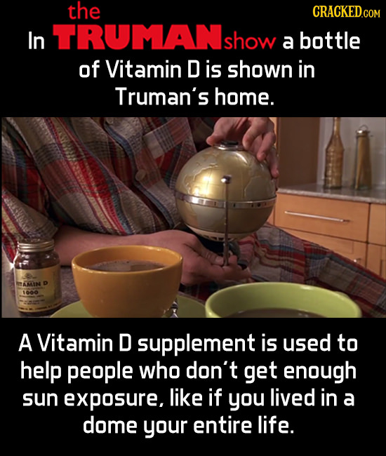 the CRACKED.COM In TRUMAN show a bottle of Vitamin D is shown in Truman's home. AMIN D 60 A Vitamin D supplement is used to help people who don't get