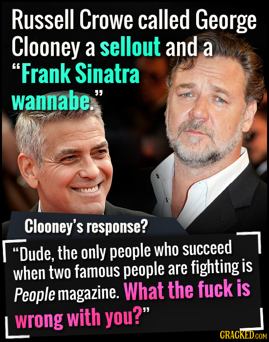Russell Crowe called George Clooney a sellout and a Frank Sinatra wannabe. Clooney's response? Dude, the only people who succeed when famous is two