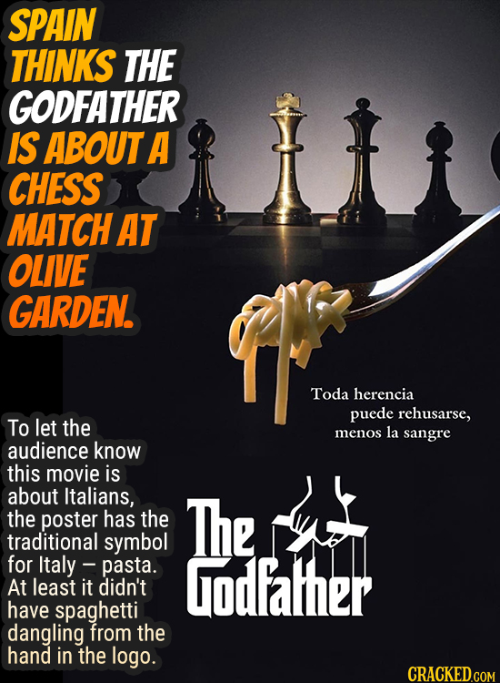 SPAIN THINKS THE GODFATHER IS ABOUTA CHESS MATCH AT OLIVE GARDEN. Toda herencia puede rehusarse, To let the menos la sangre audience know this movie i