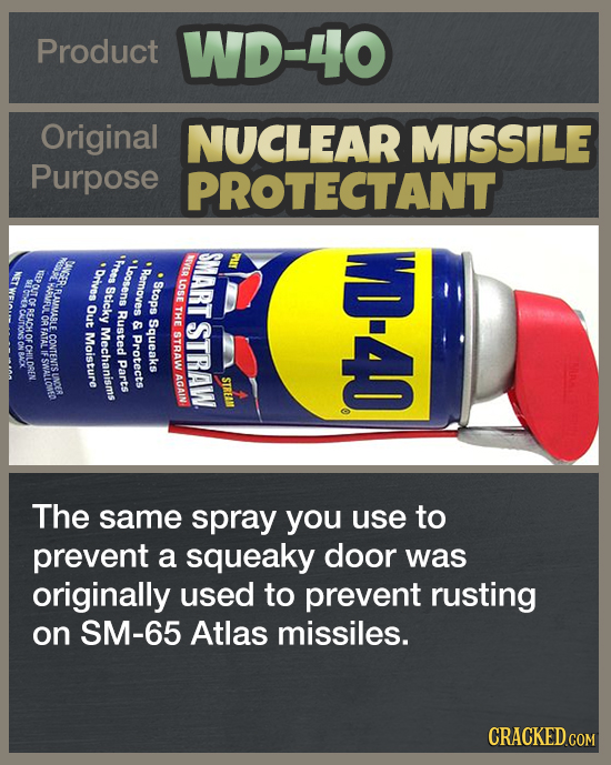 Product WD-40 Original NUCLEAR MISSILE Purpose PROTECTANT SMART PIT NOI UGER Fress Orves *Loosens EE Remaves WD-40 LAMP LOSE RUMMABL Sticky Stops OF C