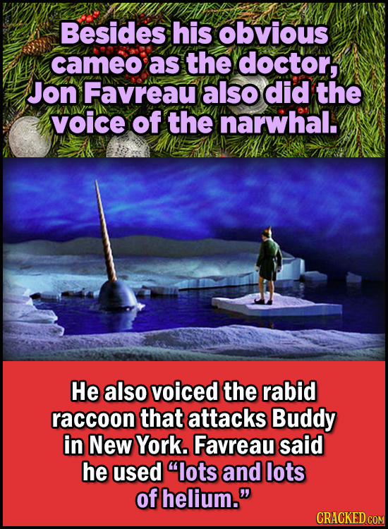 23 Son Of A Nutcracker Facts About The Christmas Classic Elf - Besides his obvious cameo as the doctor, Jon Favreau also did the voice of the narwhal.
