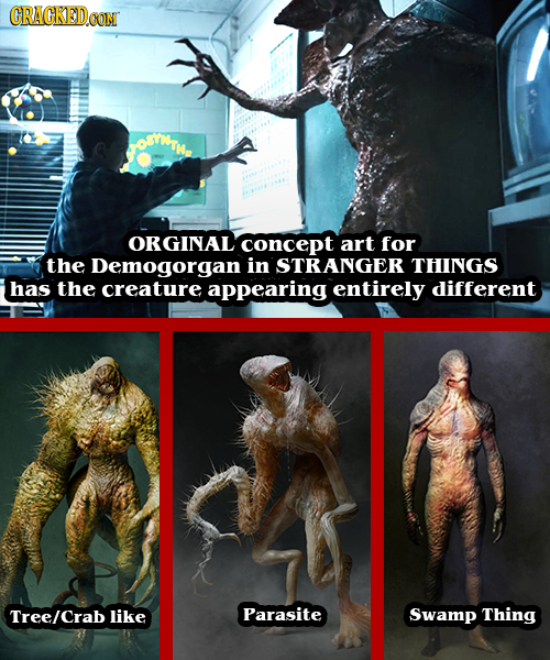 CRACKEDCON ORGINAL concept art for the Demogorgan in STRANGER THINGS has the creature appearing entirely different Tree/crab like Parasite Swamp Thing
