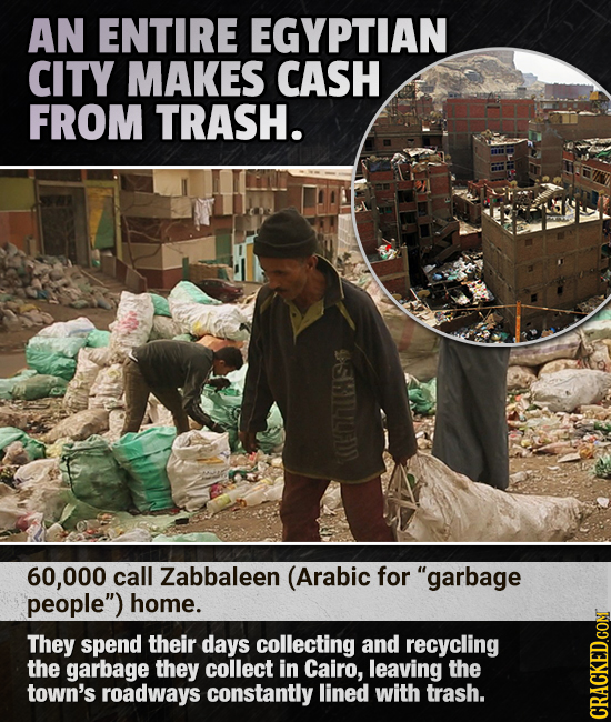 AN ENTIRE EGYPTIAN CITY MAKES CASH FROM TRASH. (70707114 60,000 call Zabbaleen (Arabic for garbage people) home. They spend their days collecting an