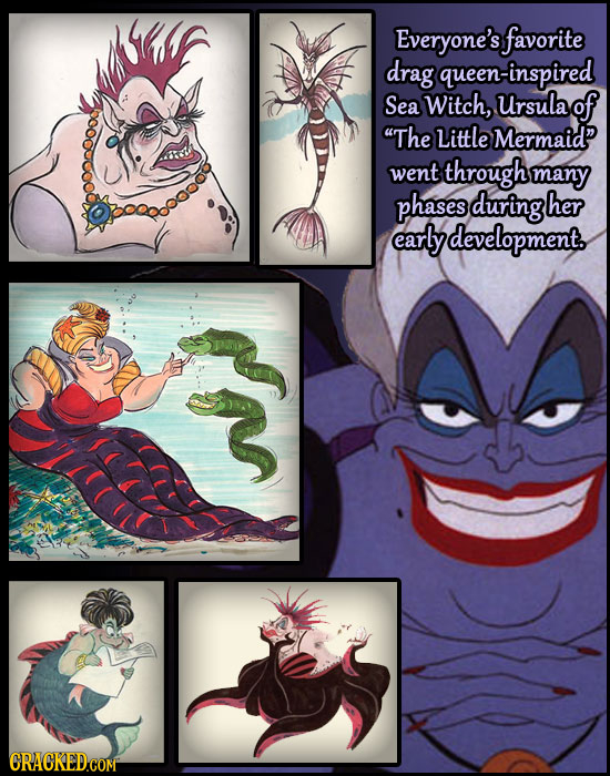 Everyone's favorite drag queen-inspired Sea Witch, Ursula of The Little Mermaid went through many phases during her early development. CRACKED COM