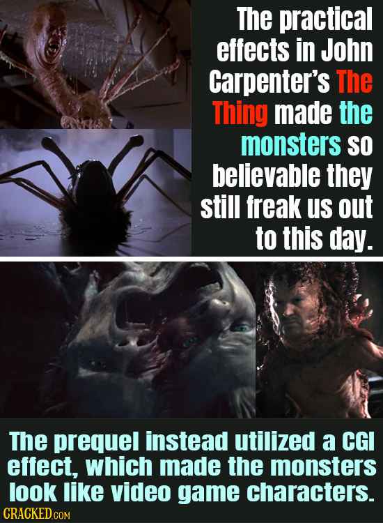 The practical effects in John Carpenter's The Thing made the monsters SO believable they still freak us out to this day. The prequel instead utilized