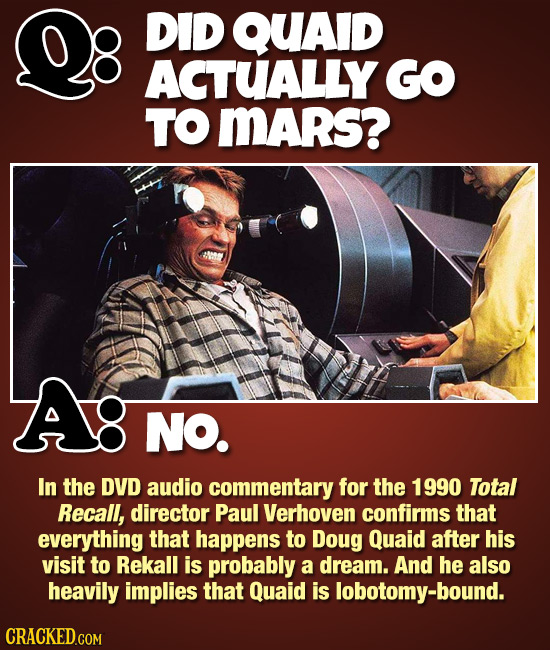 DID QUAID ACTUALLY GO TO MARs? Ag NO. In the DVD audio commentary for the 1990 Total Recall, director Paul Verhoven confirms that everything that happ