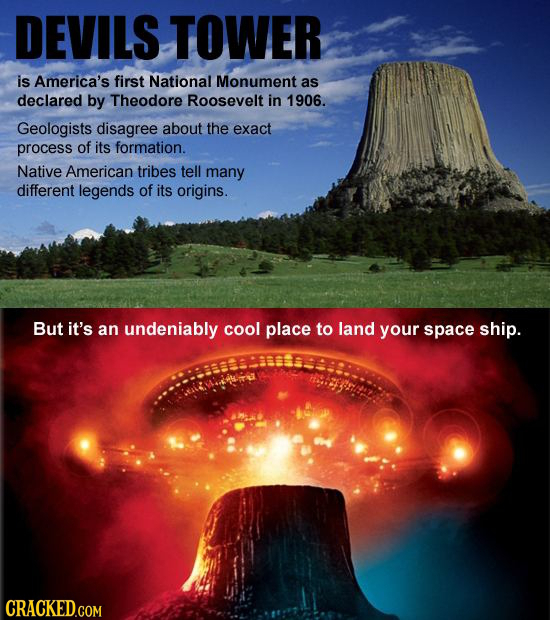 DEVILS TOWER is America's first National Monument as declared by Theodore Roosevelt in 1906. Geologists disagree about the exact process of its format