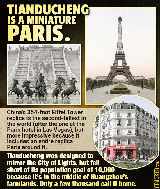 TIANDUCHENG IS A MINIATURE PARIS. China's 354-foot Eiffel Tower replica is the second-tallest in the world (after the one at the Paris hotel in Las Ve