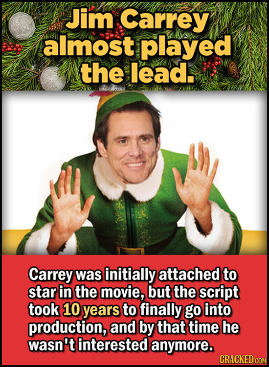 23 Son Of A Nutcracker Facts About The Christmas Classic Elf - Jim Carrey almost played the lead.  Carrey was initially attached to star in the movie