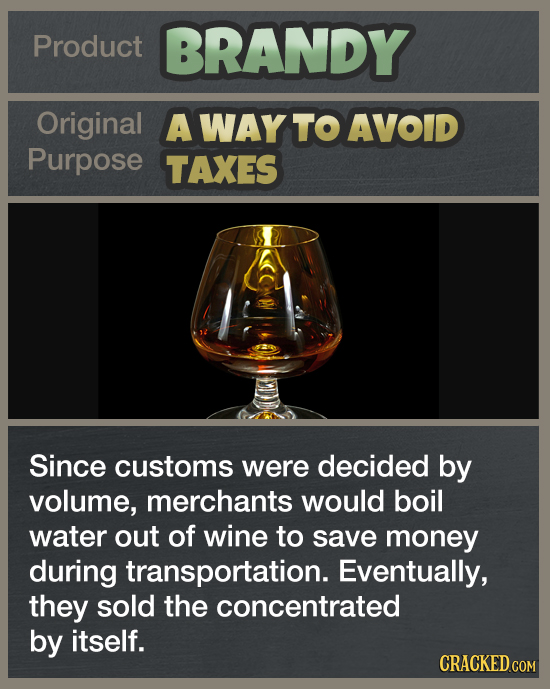 Product BRANDY Original A WAY TO AVOID Purpose TAXES Since customs were decided by volume, merchants would boil water out of wine to save money during
