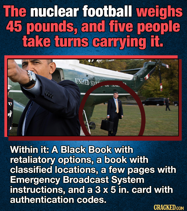 The nuclear football weighs 45 pounds, and five people take turns carrying it. Within it: A Black Book with retaliatory options,