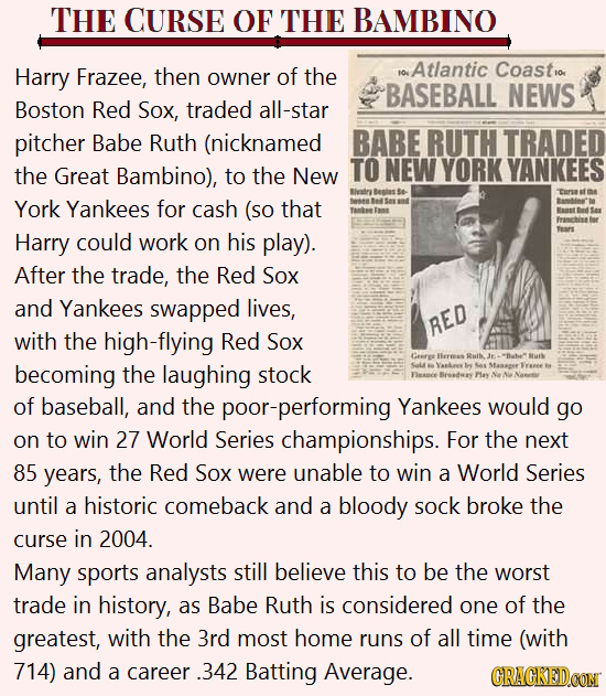 THE CURSE OF THE BAMBINO Harry Frazee, then Atlantic Coastio owner of the fo. BASEBALL NEWS Boston Red Sox, traded all-star pitcher Babe Ruth (nicknam