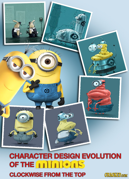 CHARACTER DESIGN EVOLUTION OF THE mINIONS CLOCKWISE FROM THE TOP CRACKEDCON