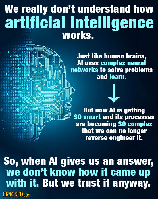 We really don't understand how artificial intelligence works. Just like human brains, Al uses complex neural networks to solve problems and learn. But