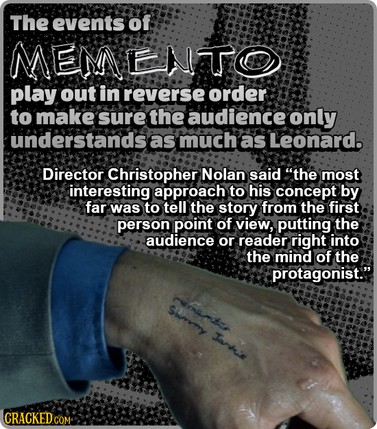 The events of MEMENTO play out in reverse order to make sure the audience only understandsas much as Leonard. Director Christopher Nolan said the mos