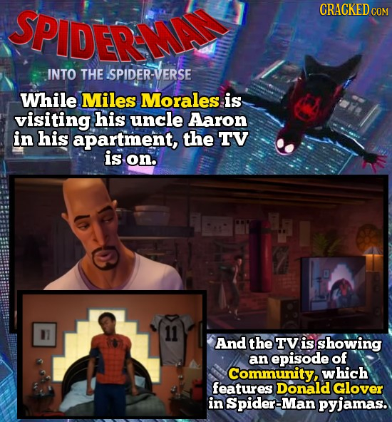 SPIDER CRACKEDCO INTO THE SPIDER-VERSE While Miles Morales is visiting his uncle Aaron in his apartment, the TV is on. And the TV is showing an episod