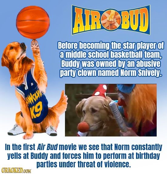 AIR BUD Before becoming the star player of a middle school basketball team, Buddy was owned by an abusive party clown named Norm Snively. WMOLW KG In