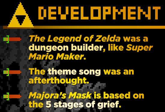 DEELOPHENIT The Legend of Zelda was a dungeon builder, like Super Mario Maker. The theme song was an afterthought. Majora's Mask is based on the 5 sta