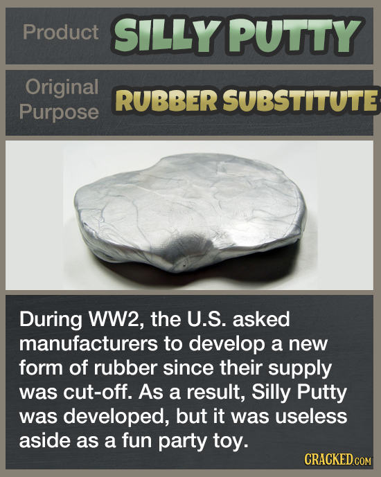 Product SILLY PUTTY Original RUBBER SUBSTITUTE Purpose During WW2, the U.S. asked manufacturers to develop a new form of rubber since their supply was