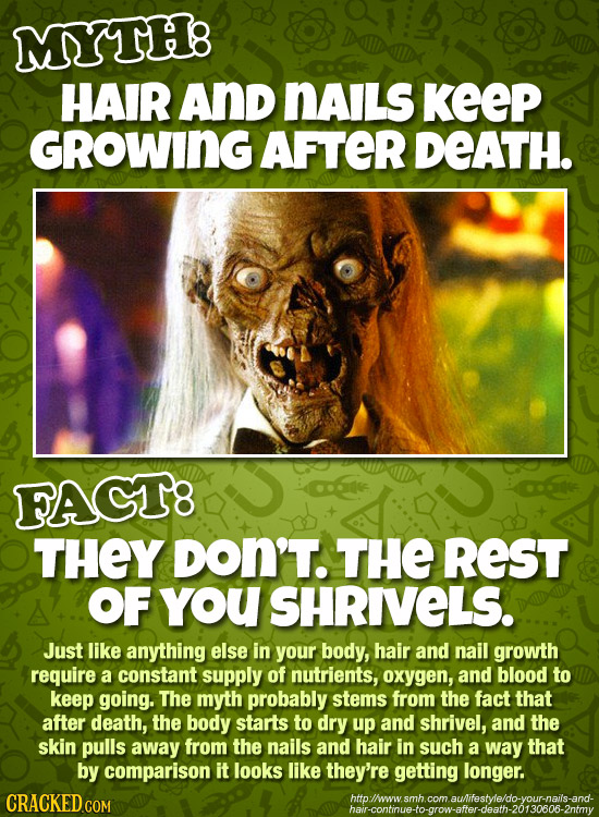 MYTHB HAIR And nAILS KEEP GROWING AFTER DEATH. FAGT8 THEY DON'T. THE REST OF you SHRIVELS. Just like anything else in your body, hair and nail growth