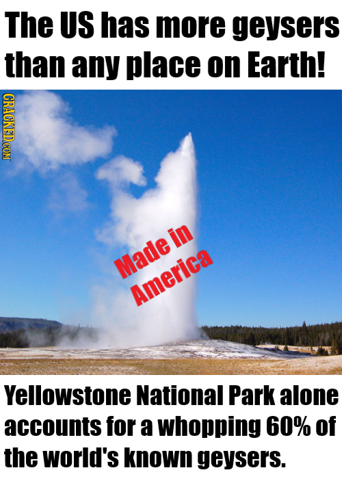 The US has more geysers than any place on Earth! in Made America Yellowstone National Park alone accounts for a whopping 60% of the world's known geys