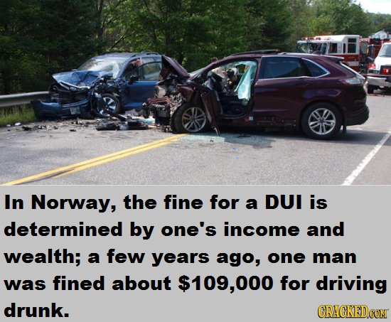 In Norway, the fine for a DUI is determined by one's income and wealth; a few years ago, one man was fined about $109,000 for driving drunk. CRACKEDCO