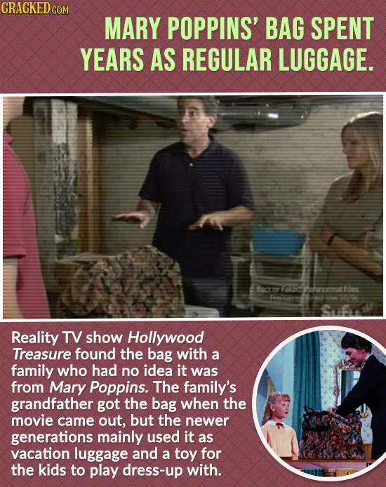 CRACKED cO MARY POPPINS' BAG SPENT YEARS AS REGULAR LUGGAGE. lverem I0 Sfrl Reality TV show Hollywood Treasure found the bag with a family who had no