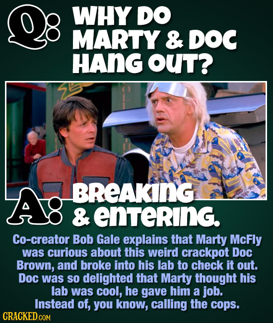 WHY DO MARTY & DOC HAng OUT? Ag BREAKING & entering. Co-creator Bob Gale explains that Marty McFly was curious about this weird crackpot Doc Brown, an