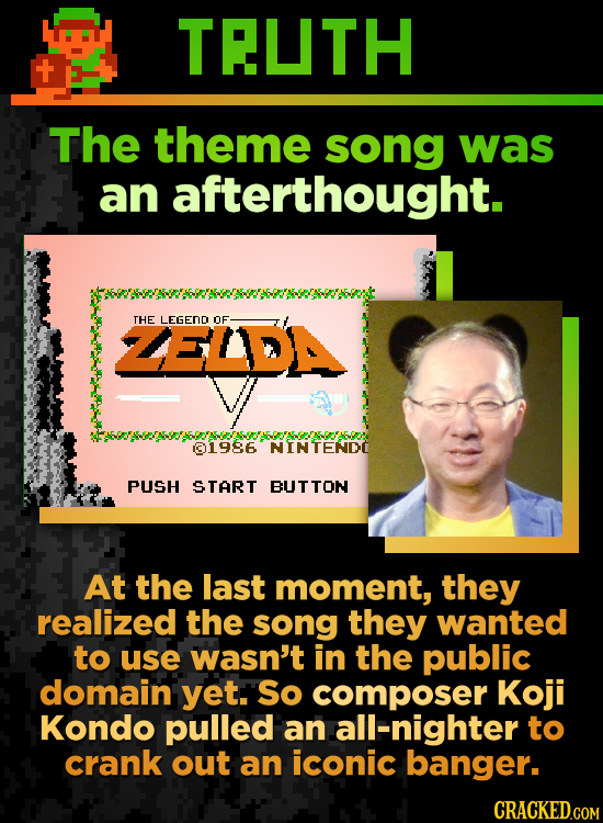 TEUTH The theme song was an afterthought. ZELDA THE LEGEND OF 01986 NINTENDC PUSH START BUTTON At the last moment, they realized the song they wanted
