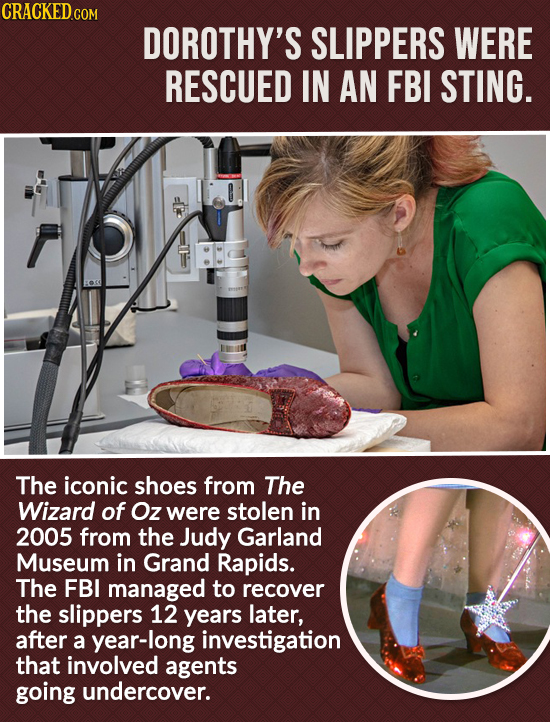 DOROTHY'S SLIPPERS WERE RESCUED IN AN FBI STING. The iconic shoes from The Wizard of Oz were stolen in 2005 from the Judy Garland Museum in Grand Rapi