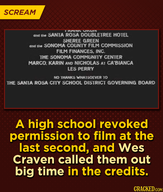 SCREAM 8 TAUUR UNUSV and SANTA the ROSA DOUBLETREE HOTEL SHEREE GREEN SONOMA COUNTY and the FILM COMMISSION FILM FINANCES. INC. THE SONOMA COMMUNITY C