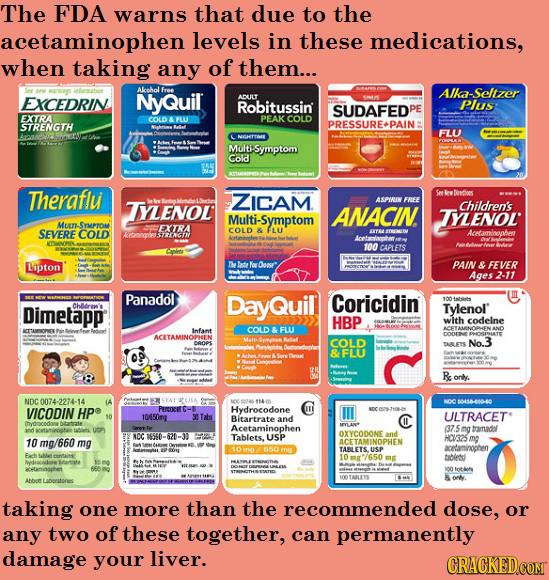 The FDA warns that due to the acetaminophen levels in these medications, when taking any of them... Alcoholl EXCEDRIN NyQUiL Ika-Seltzer ADUILT Robitu