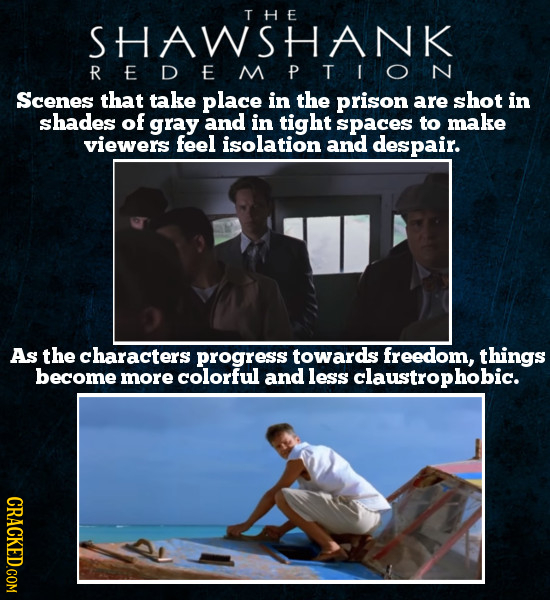 TH E SHAWSHANK R E E P Scenes that take place in the prison are shot in shades of gray and in tight spaces to make viewers feel isolation and despair.