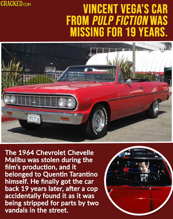 CRACKED.COM VINCENT VEGA'S CAR FROM PULP FICTION WAS MISSING FOR 19 YEARS. 2X0J538 The 1964 Chevrolet Chevelle Malibu was stolen during the film's pro