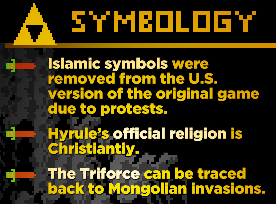 ETHEOLOG'T Islamic symbols were removed from the U.S. version of the original game due to protests. Hyrule's official religion is Christiantiy. The Tr