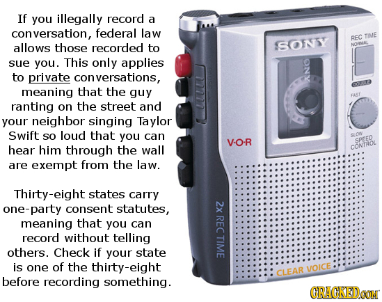 If you illegally record a conversation, federal law REC TIME allows those recorded to SONSY NORMAL sue you. This only applies D to private versations,