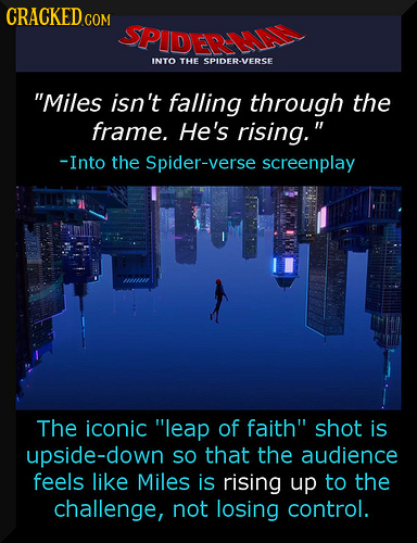 CRACKED.COM SPIDERA INTO THE SPIDER-VERSE Miles isn't falling through the frame. He's rising. -Into the Spider-verse screenplay The iconic leap of